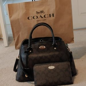 Coach Purse Set- Brown/Black Signature Print